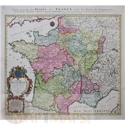 Gallia Postarum, Postal map France by Homann 1745