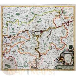 Novissima et Accuratissima Namurci Old map Belgium by Danckert 1690