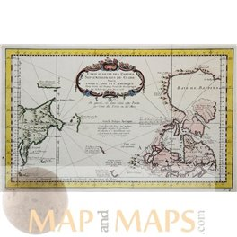 Asia America continents, original historical old map by Bellin 1759