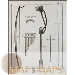 ANTIQUE WEAPONS OF MALEKULA AND TANNA ISLES-VOYAGE COOK, OLD ENGRAVING 1780