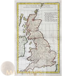 Great Brittan Antique old Map British Isles. d'Anville 1750