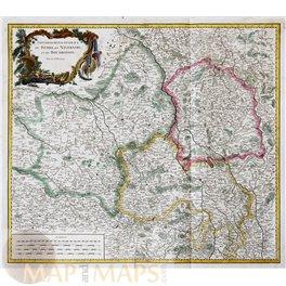 France Old map Berry Nivernai Bourbonnais by Vaugondy 1754