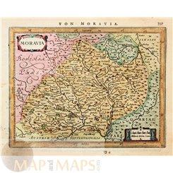 Moravia Old map Czech Republic Mercator/Janssonius 1628