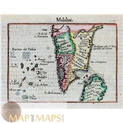 Malabar India Ceylon map Mercator/Hondius Atlas Minor 1614