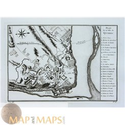 Plan de la Ville de Quebec Canada fortified city Bellin1757