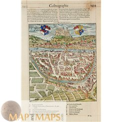 Wurzburg Germany, scarce early map of Belleforest 1575