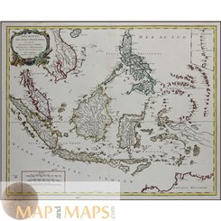 East Indies Antique map Southeast Asia by Robert de Vaugondy 1750