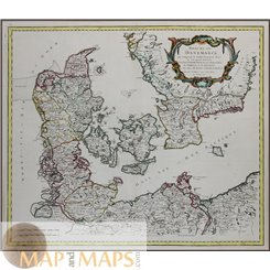 Kingdom of Denmark Old map Royaume de Danemarck by de Vaugondy 1750