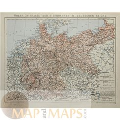 Railway routes in the German Empire. Old map by Meyer 1905