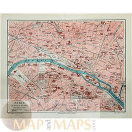 Paris Old map France Bibliographic Institute Meyer 1905