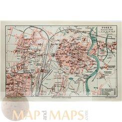 Poznań on the Warta river Poland Antique map Meyer 1892