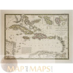 Caribbean islands Cuba old map Isles Antilles Brue 1837
