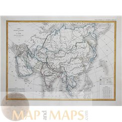 Asia Continantal Map 19th century old map Dussieux 1845