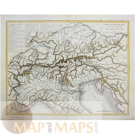 Alps the main chain of the Alps, antique map Dussieux 1846