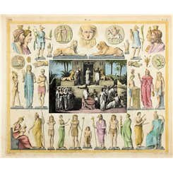 People in Antiquity during the Roman Empire Antique Print Heck 1849