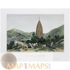 India Mahadeo Temple Antique Print 1838