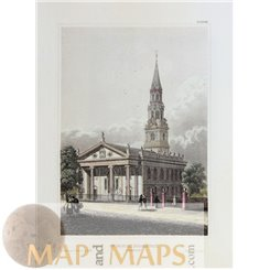 Antique print St. Paul's Chapel Broadway, New York, Meyers 1852