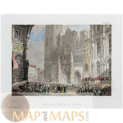 France Rouen, Gothic Cathedral Antique Print Meyer 1837