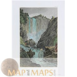 Italy Prints Marmore's Falls Old engraving by Meyer 1850