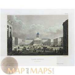 Place Royale in Brussels, Antique print Belgium 1840