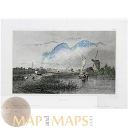 Den Haag Holland Old antique print c.1838