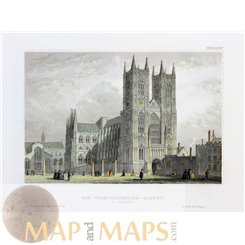Westminster Abbey London antique print 1831