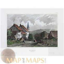 Switzerland old prints St. Jacob village Basel by Meyer 1850