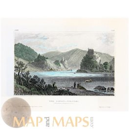 ANTIQUE PRINT, THE SWIRL OF THE DANUBE (LOWER AUSTRIA) MEYERS 1850
