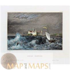 Denmark old prints, Kronborg castle Helsingør Meyer 1850