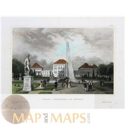 Nympenburg palace Munchen Germany antique print 1838