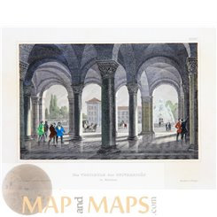Antique print, The Vestibule of the University in Munich, Germany, Meyers 1852