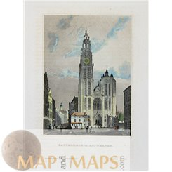ST. Laurence Cathedral Rotterdam Old print c.1850