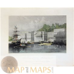 Constantinople Print, Palace of Sultan Mahmoud Sands 1839