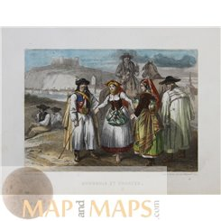 Hungary Traditional Costumes/Hongrois et Croate antique engraving c. 1860