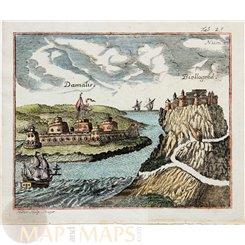 Damalis Biellogrod Old print Bosporus Belgorod Turkey by Myller 1732