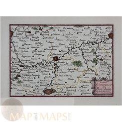 1688 Rare old map Bouchain, Cambray France by Beaulieu