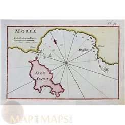 Ottoman map Morea Isle Servi Greece by Roux 1764