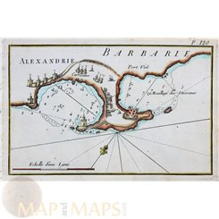 Egypt nautical maps, Alexandria port, Joseph Roux 1764