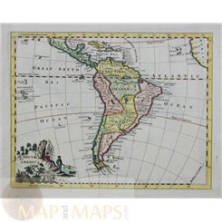 JEFFERYS ANTIQUE MAP OF SOUTH AMERICA, NEW SPAIN, COPPER ENGRAVING c.1770