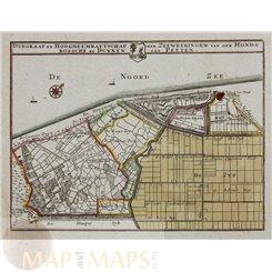 North Holland, Petten, polder map Netherlands by Hendrik de Leth 1740