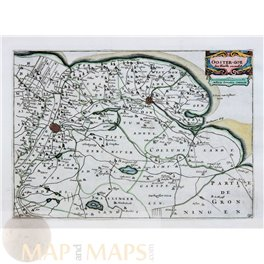 Friesland Holland 2 antique maps WESTER GOE – OOSTER GOE by de la Feuille 1702