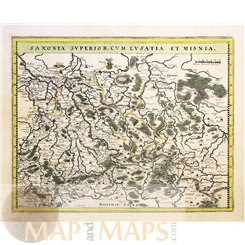 Germany Saxony Lusatia Old Map Czech Prague Merian 1650