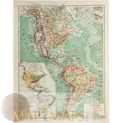 America antique map North South America Meyer 1905