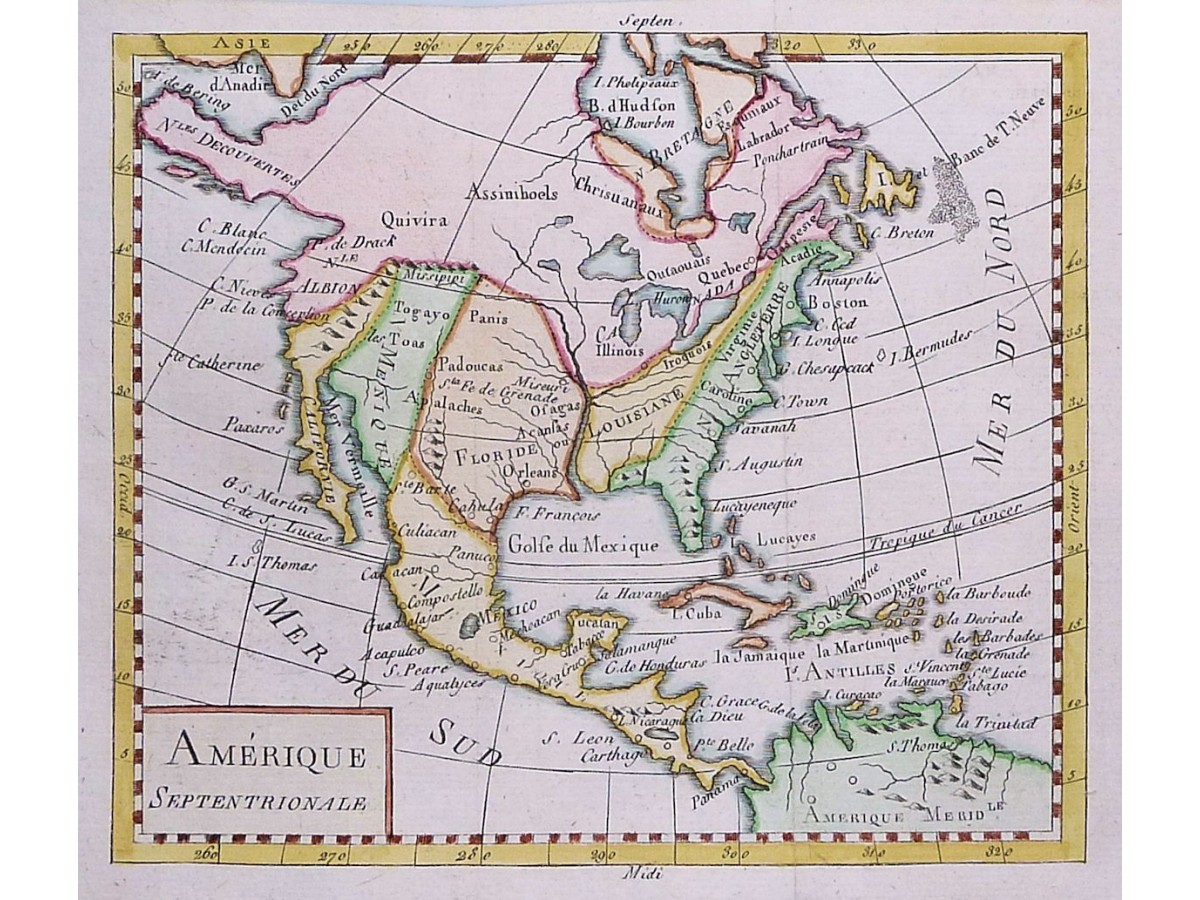 America Mexico Canada Old antique map by Vaugondy 1750 - MapandMaps.com