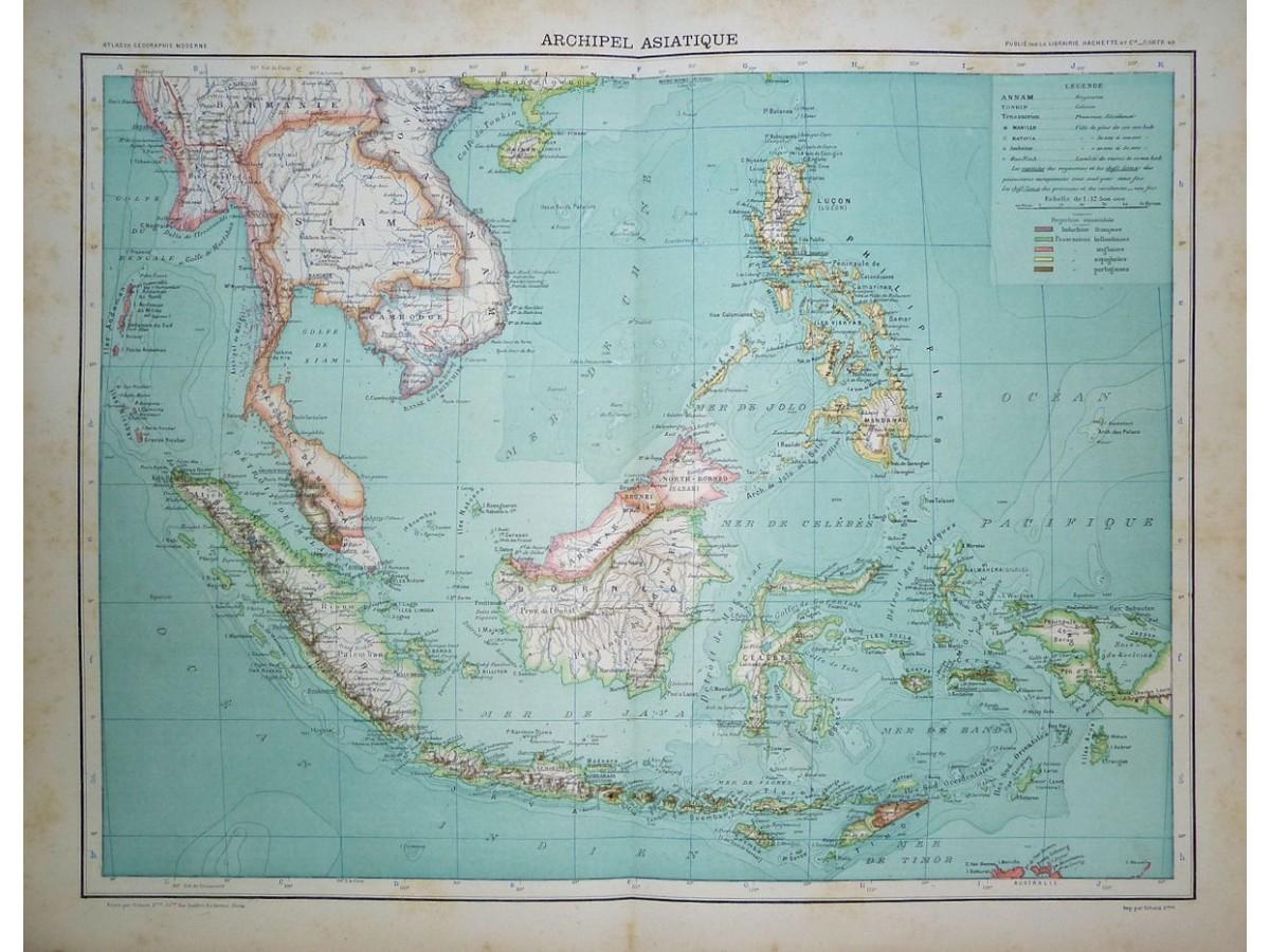 Asia Islands, Thailand Indonesia Philippines Large antique ...