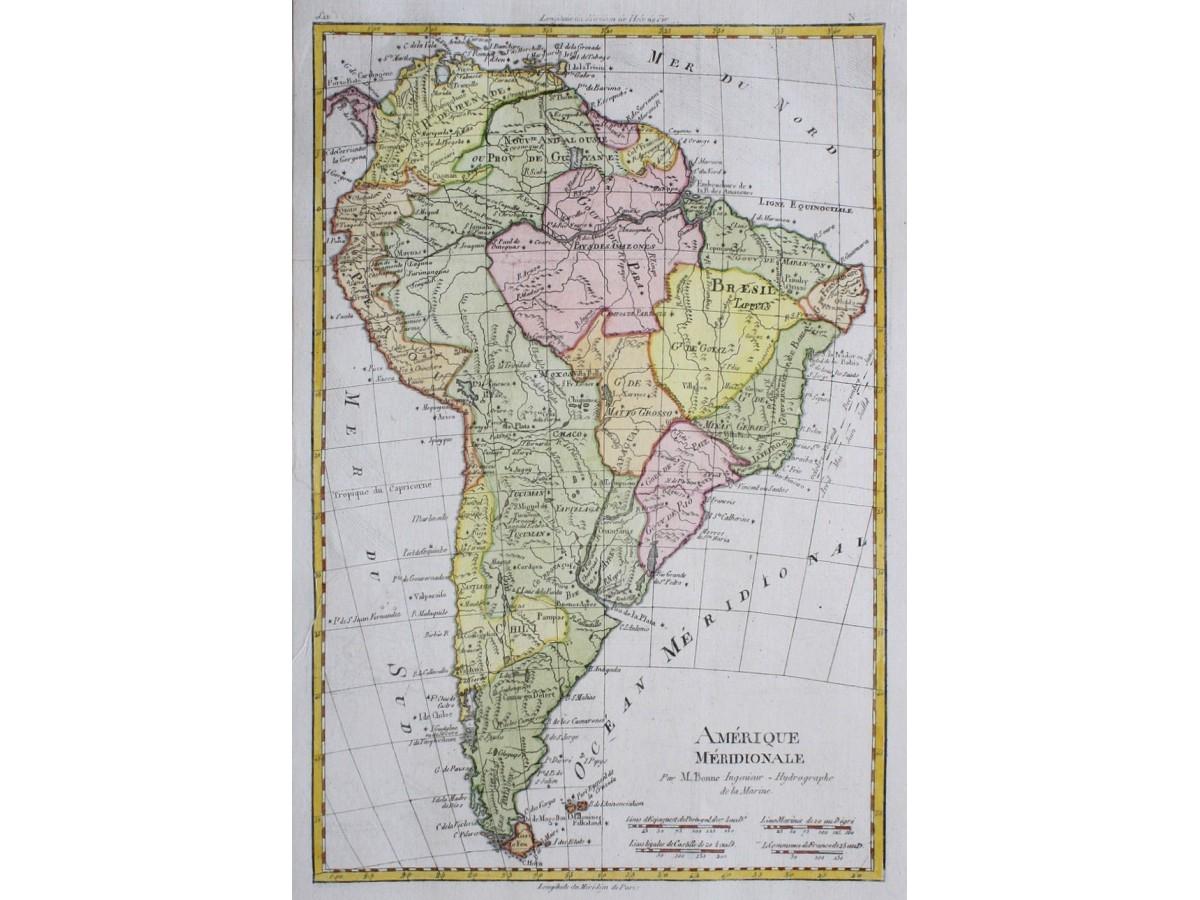 America South Chili zil Peru Old Map. Bonne - Mapandmaps on
