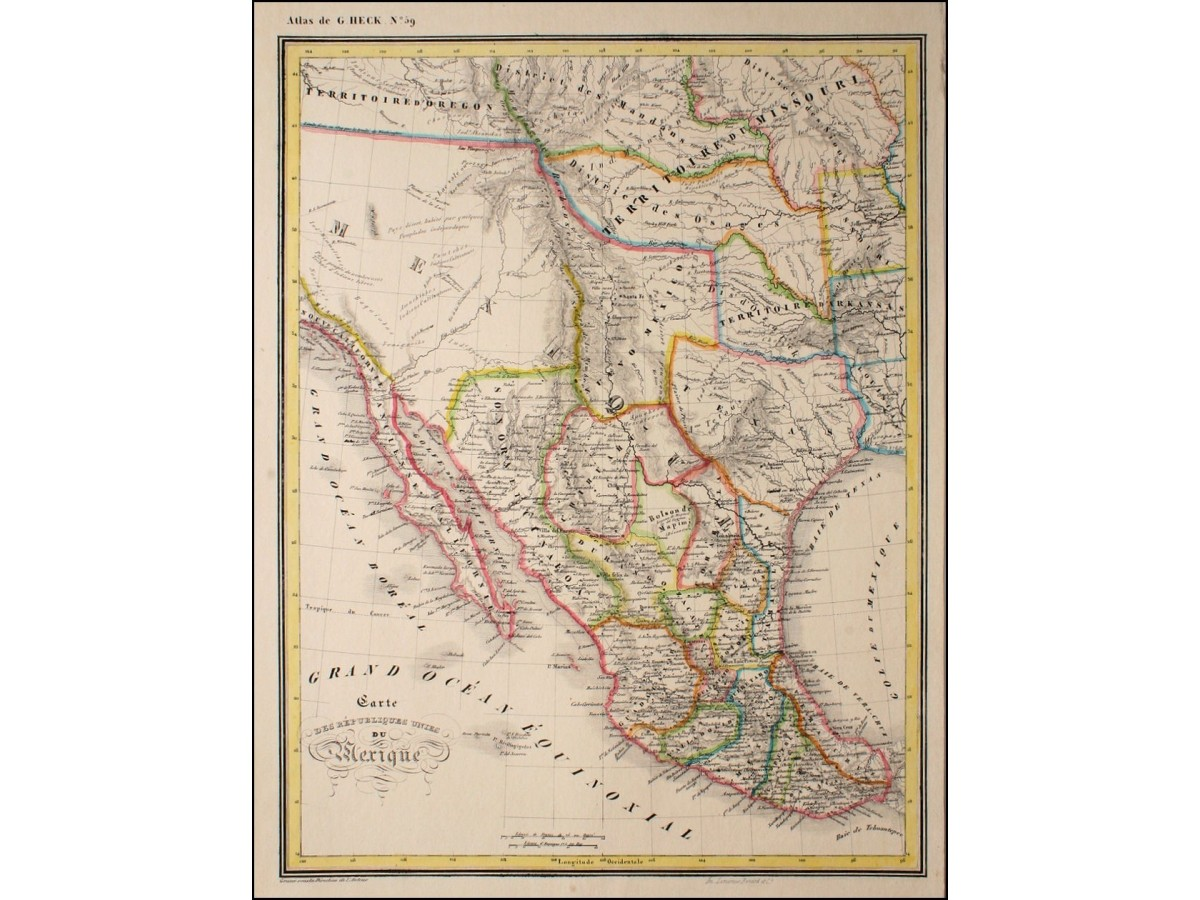 Etats Unis Du Mexique Antique Map Mexico By Heck 1842 Mapandmaps