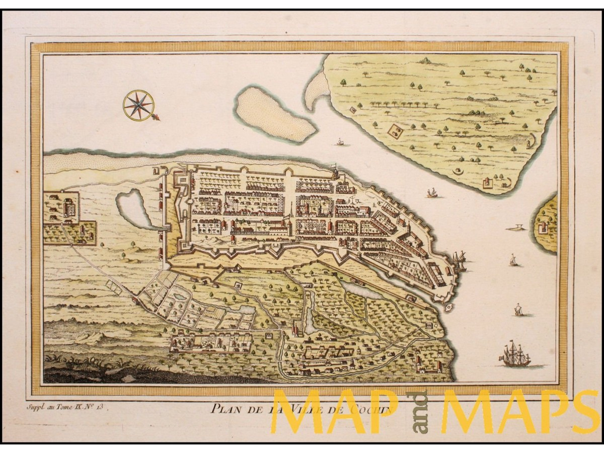 Plan De La Ville De Cochin Fort Cochin India Bellin Map Mapandmaps