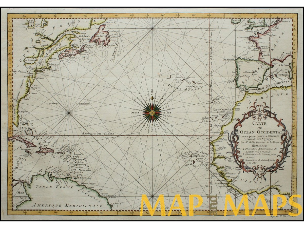Sea chart, North Atlantic Ocean Americas Europe Africa old map by ...