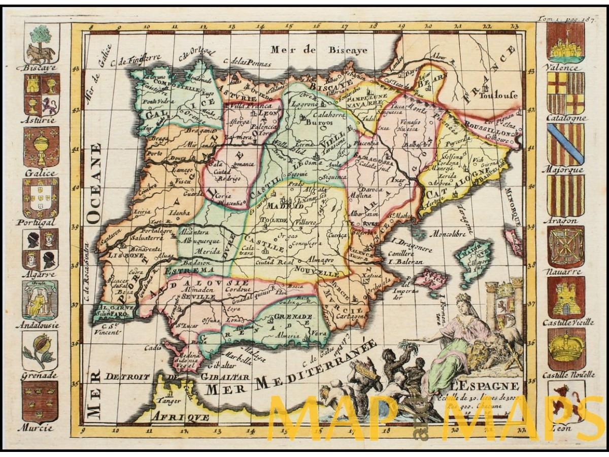 Map Of Spain 1700.L Espagne Old Map Spain And Portugal By De La Feuille Mapandmaps